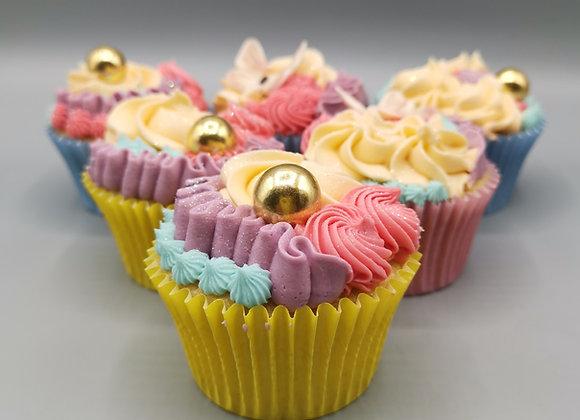 Golden ball cupcakes