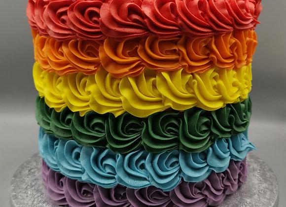 Rosette rainbow cake
