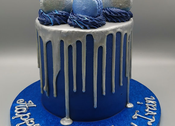 Drip cake - blue and sliver