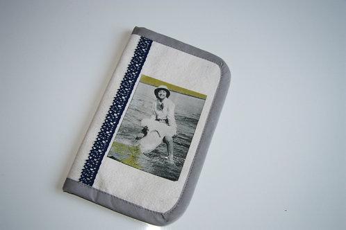 Portefeuille ethnique chic en toile de lin/coton