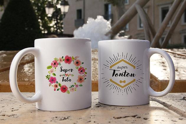 Mug FLOWER tata ou HIPSTER tonton