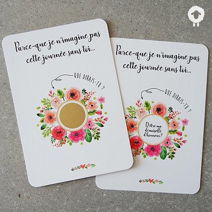 Carte à gratter demoiselle d'honneur - FLOWER