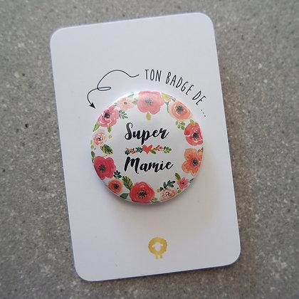 Badge + présentoir mamie - FLOWER