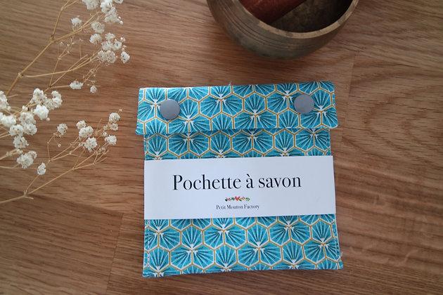 Pochette à savon TURQUOISE/OR GEO