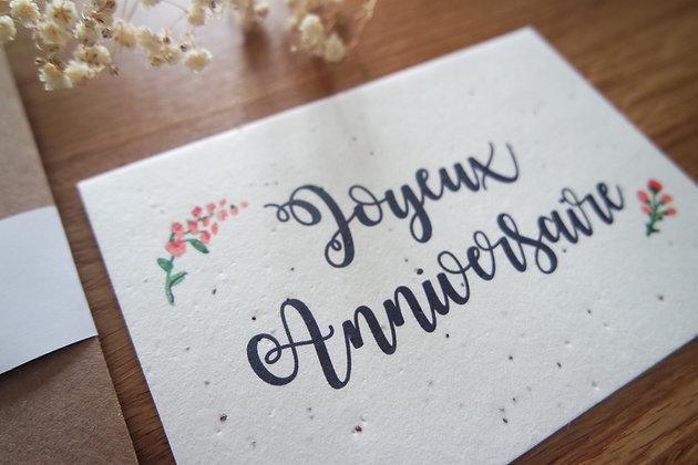 Carte ensemencée FLEUR joyeux anniversaire