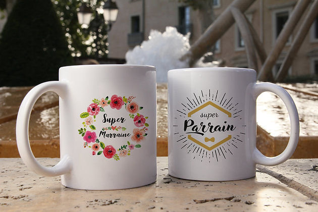 Mug FLOWER marraine ou HIPSTER parrain