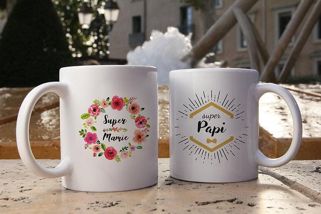 Mug FLOWER mamie ou HIPSTER papi
