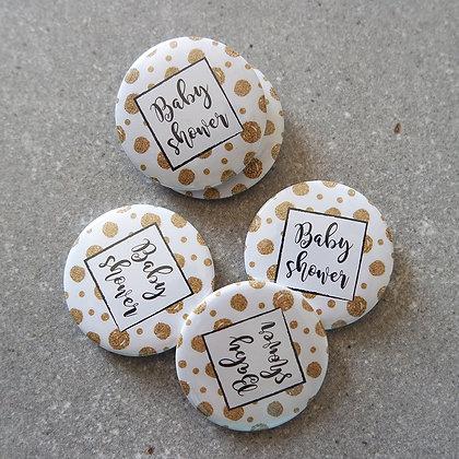 Lot 5 badges baby shower - GLITTER