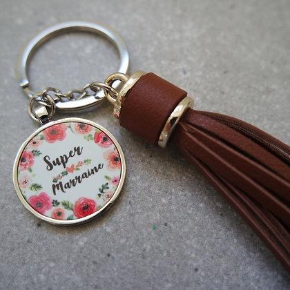 Porte-clés simili cuir MARRAINE