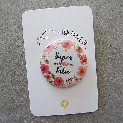 Badge + présentoir tatie/tata - FLOWER
