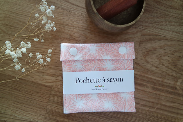 Pochette à savon FEUILLE ROSE
