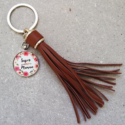 Porte-clés simili cuir MAMAN