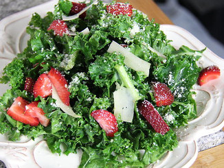 Healthy Strawberry Kale Caesar Salad