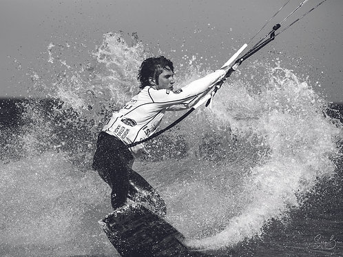 Kite Surfeur en Noir et blanc