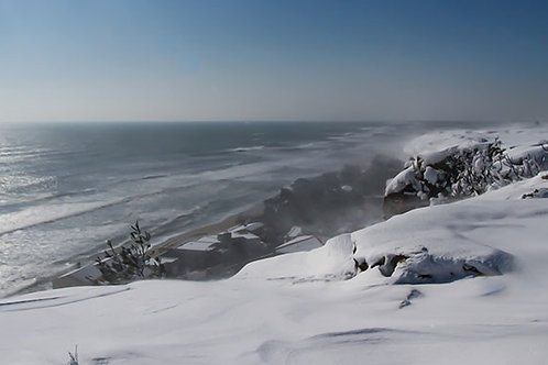 Panoramique Falaise de Leucate enneigée