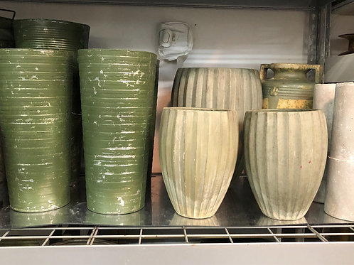 French Buckets and Concrete Vases
