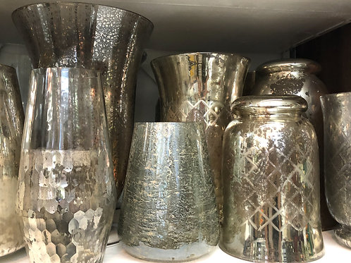 Silver and Mercury vases