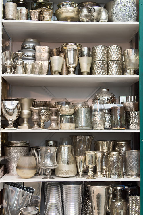 Silver Glass and Metal