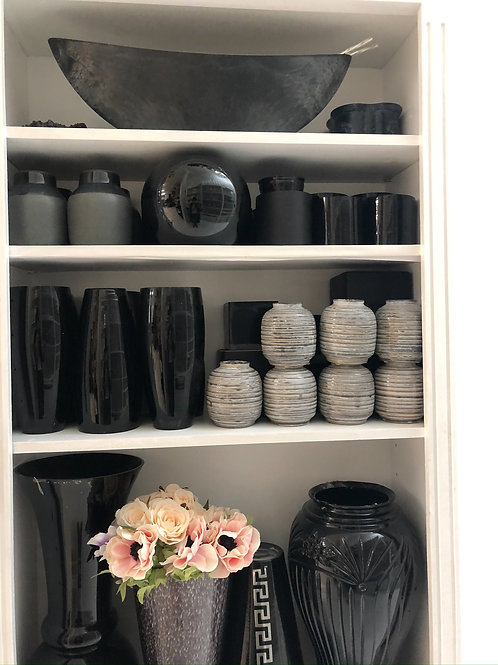 Black and gray vases