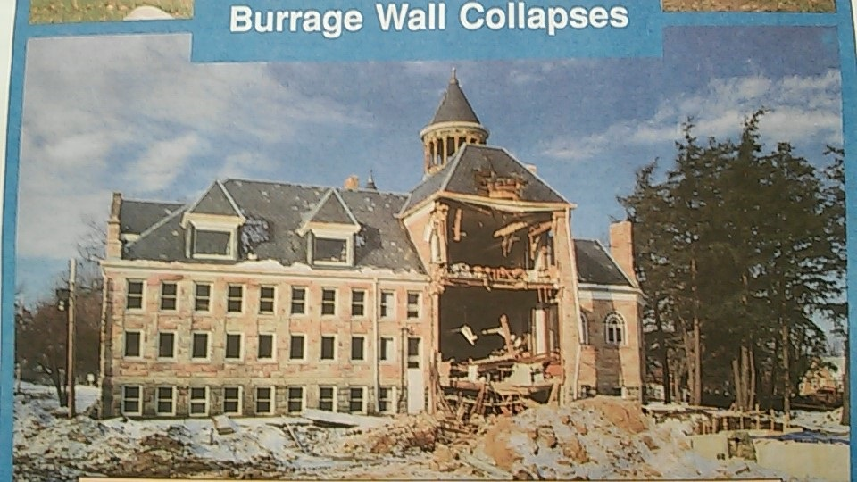 During the remodel of 1991, the back wall of the library suddenly gave way and collapsed.