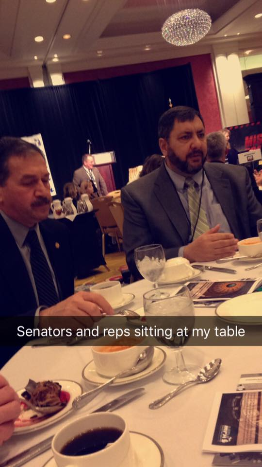 Rep. Peter Pettalia (left) and Sen. Jim Stamas share a table with Galloway during the MPA luncheon Jan. 29.