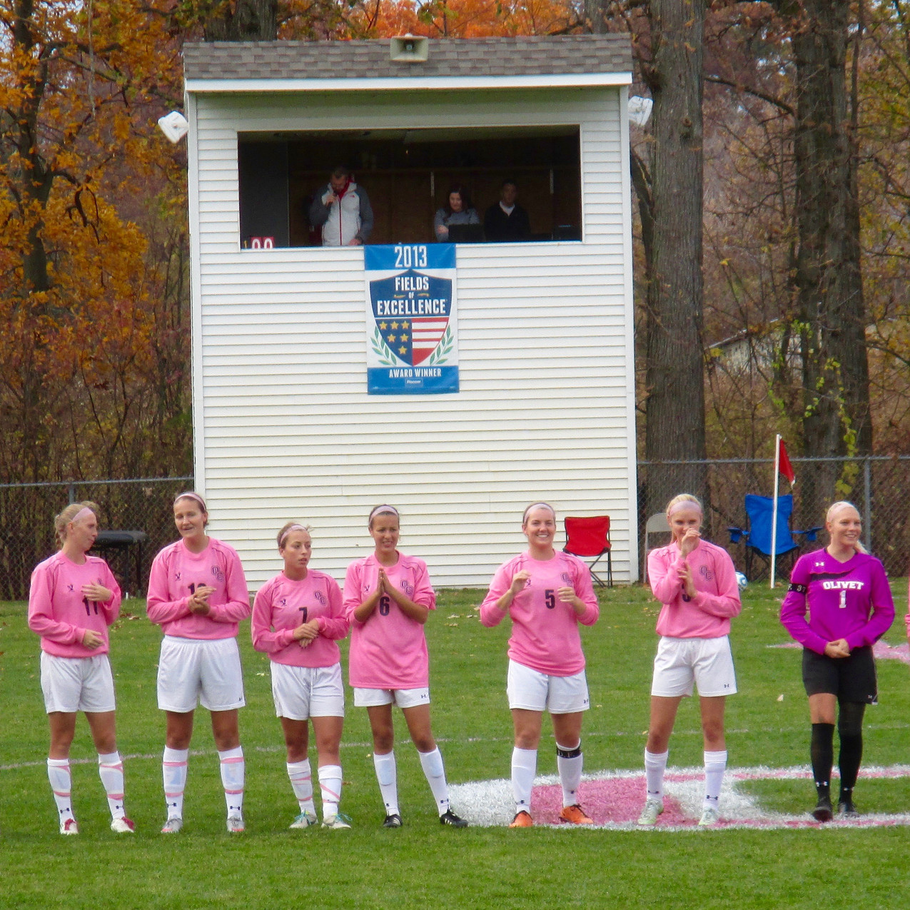 Women's soccer team being announced before their 4-0 win over Trine