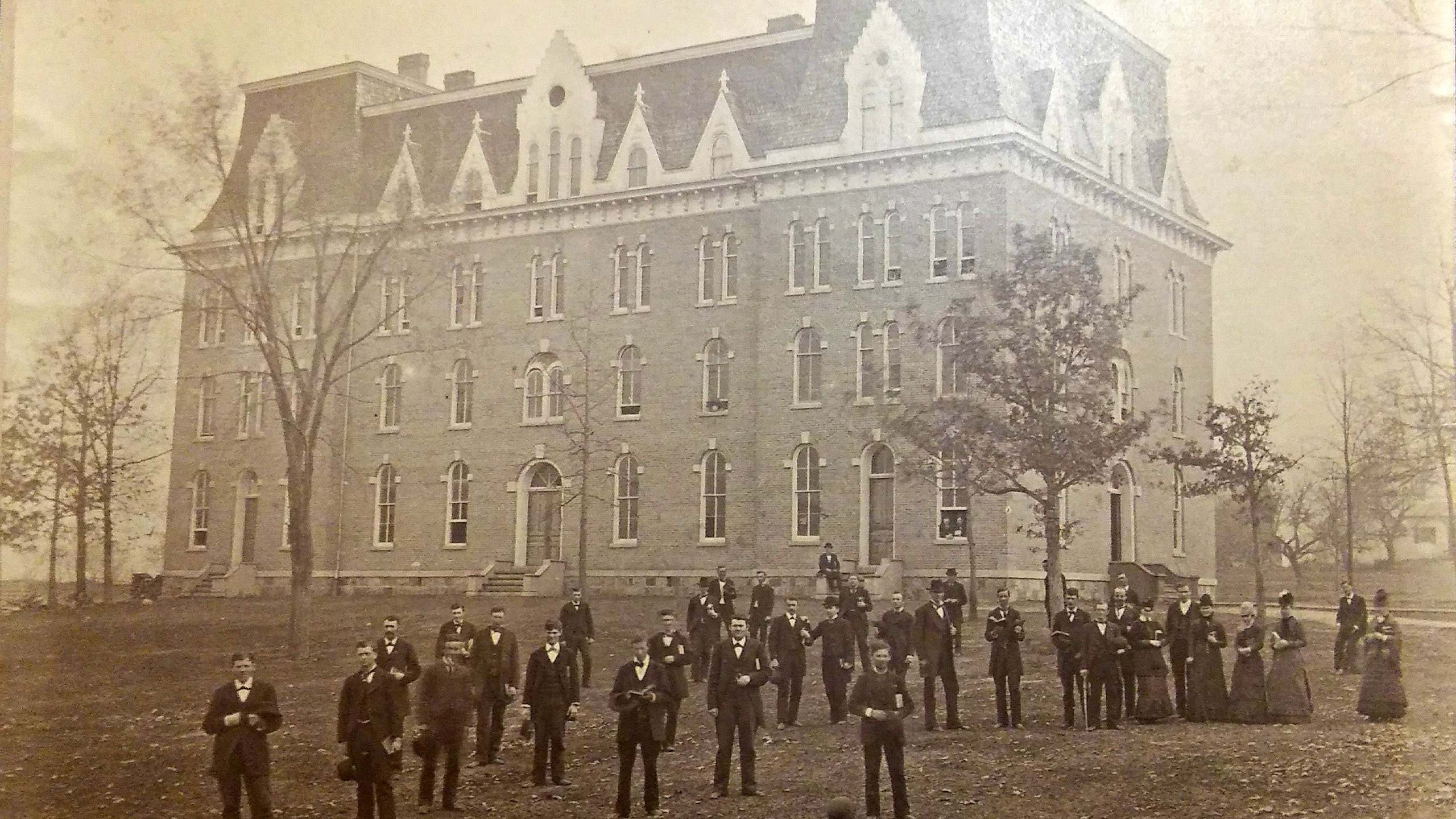 In the late 1880s, the residents and faculty of Parsons Hall posed for a photograph./Courtesy photo