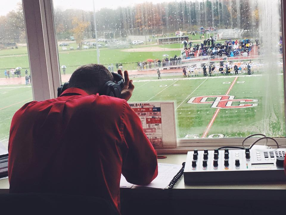 The mood was tense throughout the Oct. 31 game between Olivet and Albion. The wet weather only added to the emotions, which ran high on and off the field, as witnessed by WOCR broadcaster Travis Oberlin's gesture.