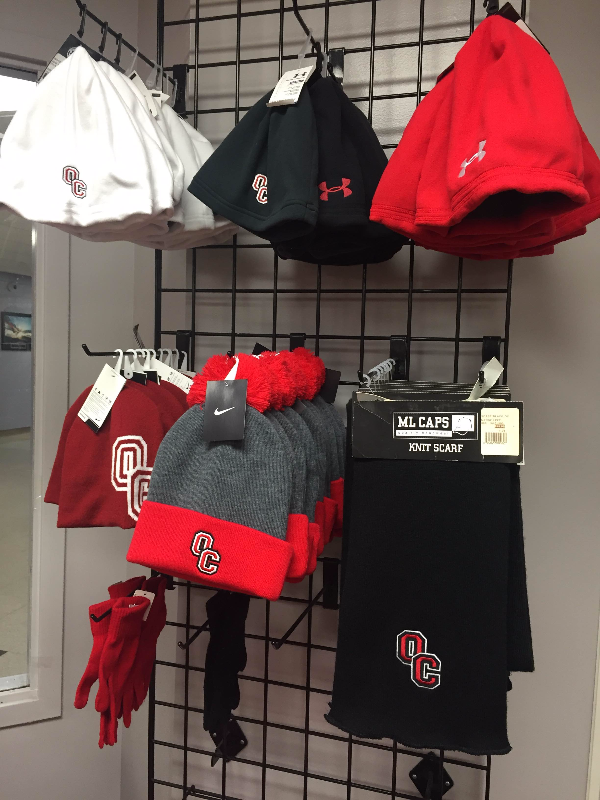 The Olivet College Bookstore has stocked up on warm clothes and apparel to help students prepare for changing-Michigan