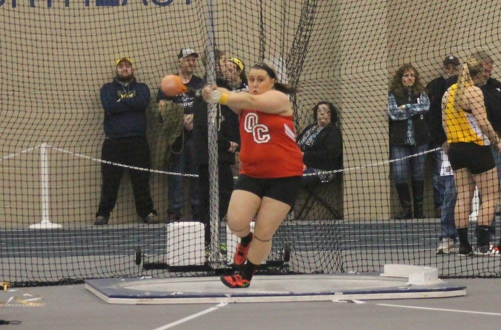 Junior Kaitlynn Totten throwing shotput during the Trine Invitational on Friday, Jan. 29 in Angola, Indiana.
