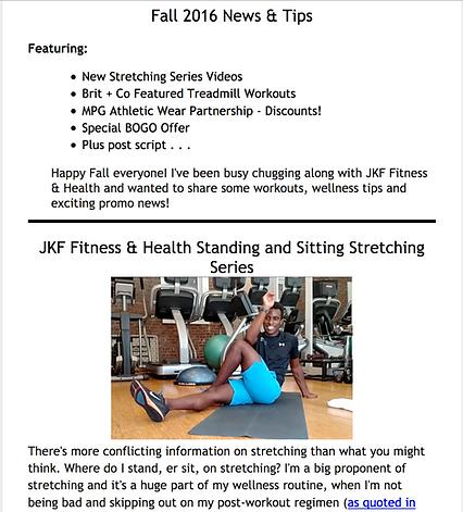 JKF Fitness & Health Fall 2016 Newsletter, John Ford, Stretching