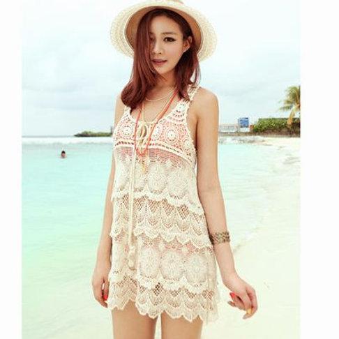 Crochet Sleeveless Sundress 鉤針編織背心沙灘裙