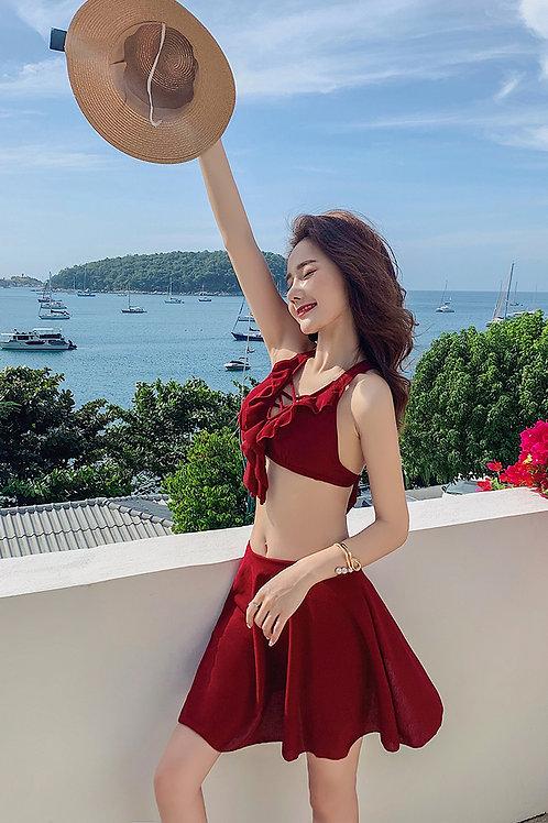 Red Wine 2 Pieces Bikini Dress 酒紅色裙款比堅尼