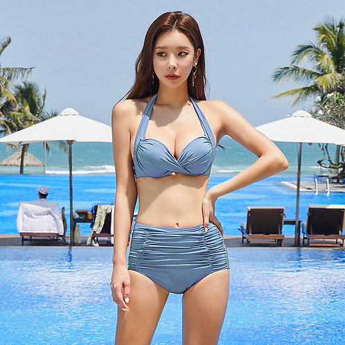 Wrinkle Push-up High-waist Bikini 褶紋集中型高腰比堅尼