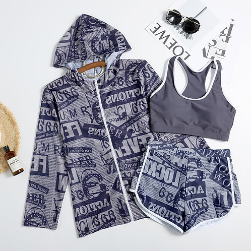 Alphabet Printing 3 Pieces Swimwear Set 字母印花運動泳衣套裝