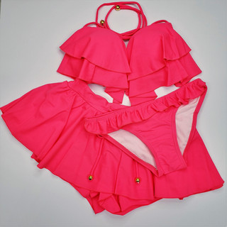 荷葉款比堅尼3件套裝 Ruffles 3 Pieces Bikini Set_3