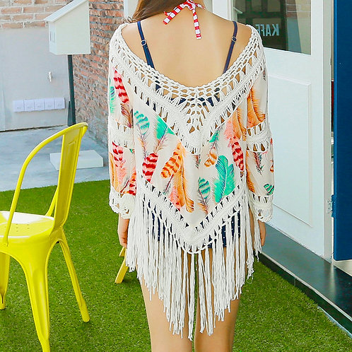 Colorful Feather Tassel Beachwear 彩色羽毛流蘇沙灘衫