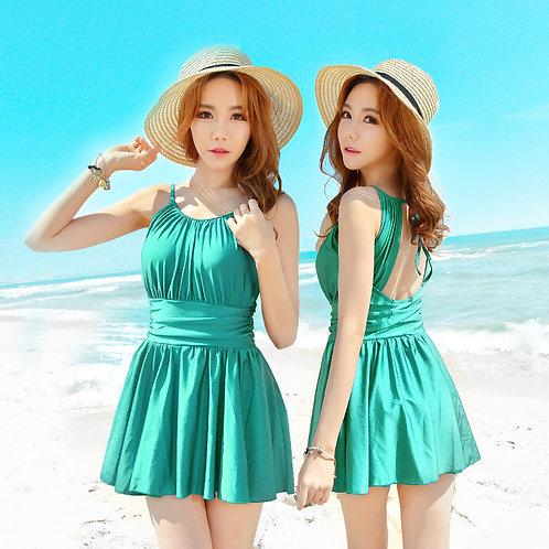 Korean Style One Piece Swimsuit 韓式連身裙泳衣