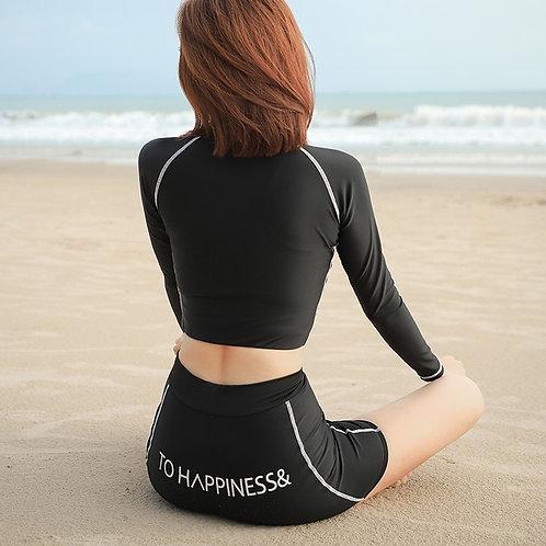 Long Sleeve Black Swimwear Set 黑色長袖泳衣套裝