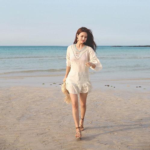 Middle-sleeved Backless Dress 中袖露背沙灘裙