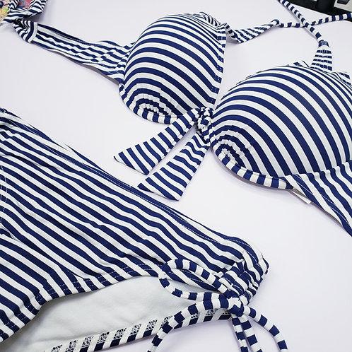 Dark Blue Stripe Bowknot Bikini 深藍橫間蝴蝶結比堅尼
