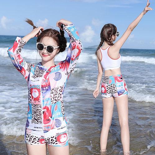 Pattern Printing 3 Pieces Swimwear Set 彩色印花運動泳衣套裝