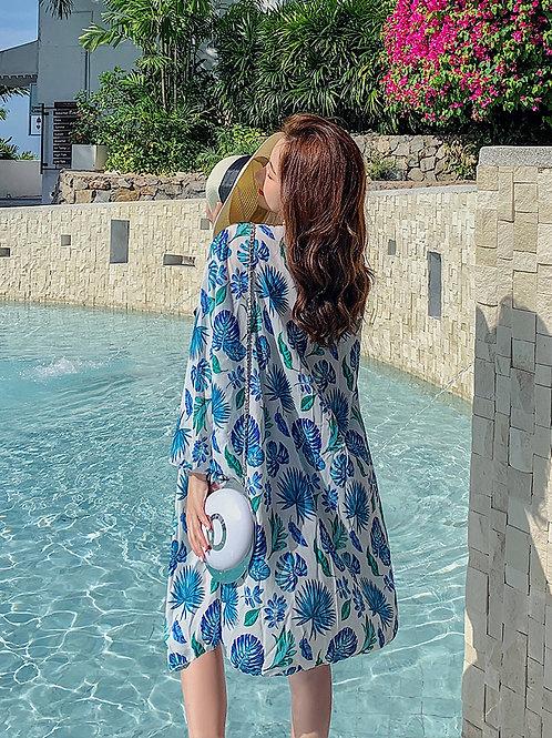 Blue Printing Long Sleeve Coat 藍色印花長袖外套