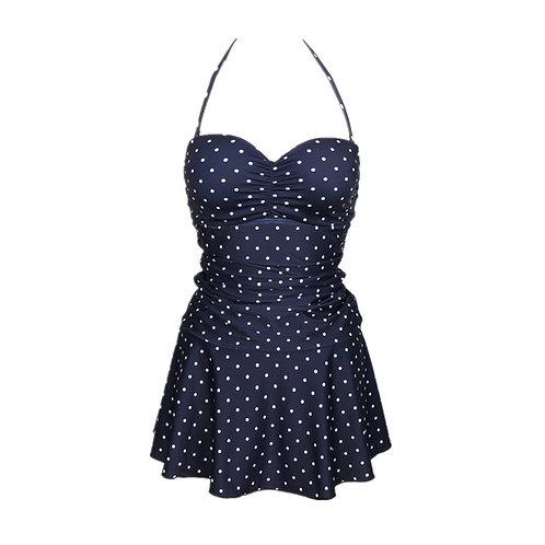 Pleating Slim Waist Round Dot Swim-dress 打褶款修腰波點裙泳衣