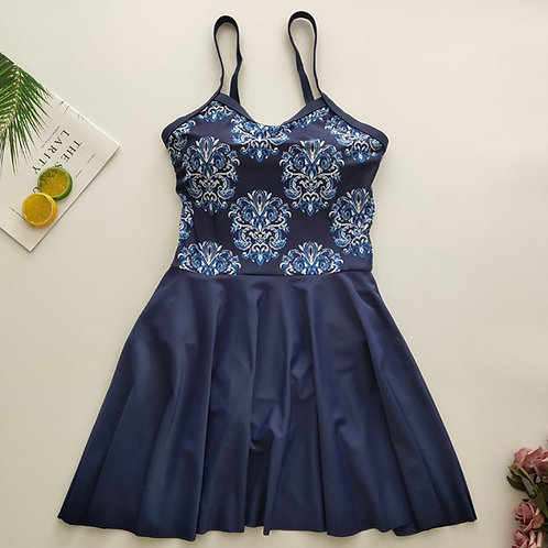 Portuguese Pattern Printing Swim Dress 葡式印花裙款泳衣