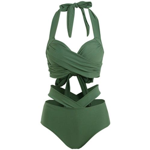 Twisted Push-up Cut-out Bikini(ArmyGreen) 扭布款鏤空比堅尼(軍綠色)