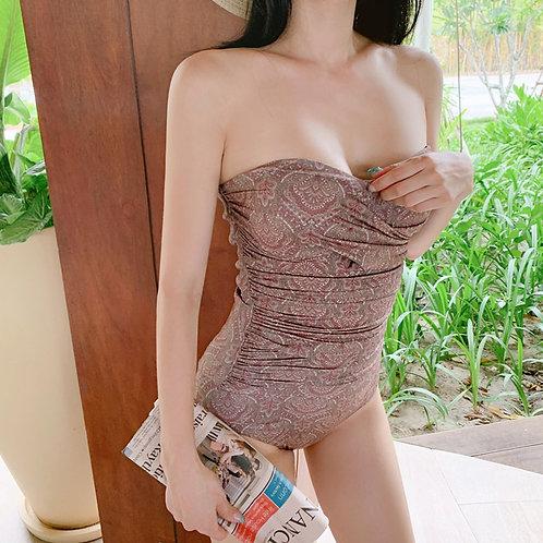 Tube-top Wrinkle Swimsuit 抹胸褶紋連身泳衣