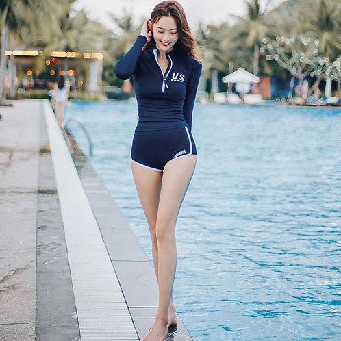 Long Sleeves + Shorts 2 Pieces Sporty Swimwear 長袖平腳褲2件運動泳衣