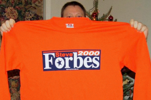 Jake holding Forbes campaign shirt