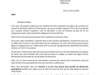 """Simulacre de démocratie sur le """"plan Climat"""" : Aimer Paris interpelle Hidalgo !"""